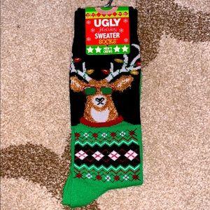 Ugly sweater men's crew socks LET IT GLOW